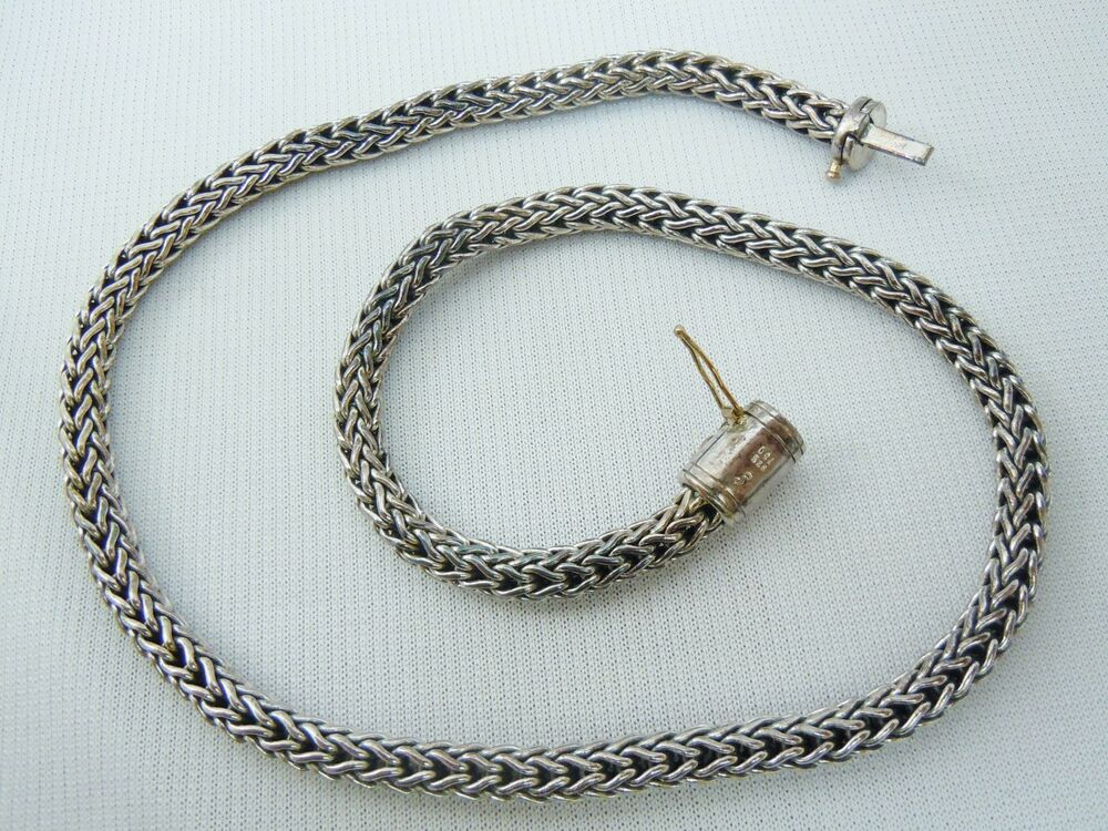 Sterling Silver 925 750 S Stamp Snake Chain Necklace   eBay