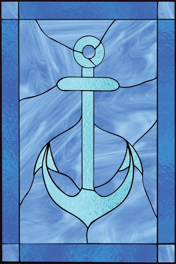 faux stained glass window cling nautical anchor water bathroom sunblock privacy ebay. Black Bedroom Furniture Sets. Home Design Ideas