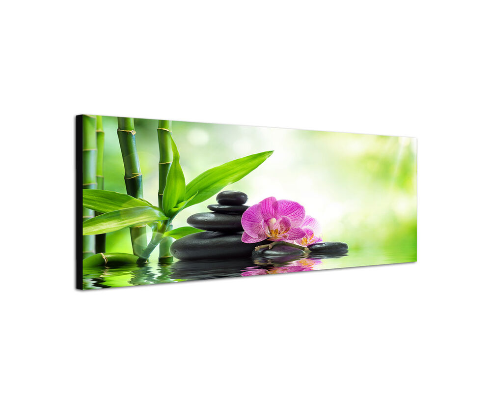 120x40cm asien spa panorama lila orchidee bambus zen steine wandbild sinus art ebay. Black Bedroom Furniture Sets. Home Design Ideas