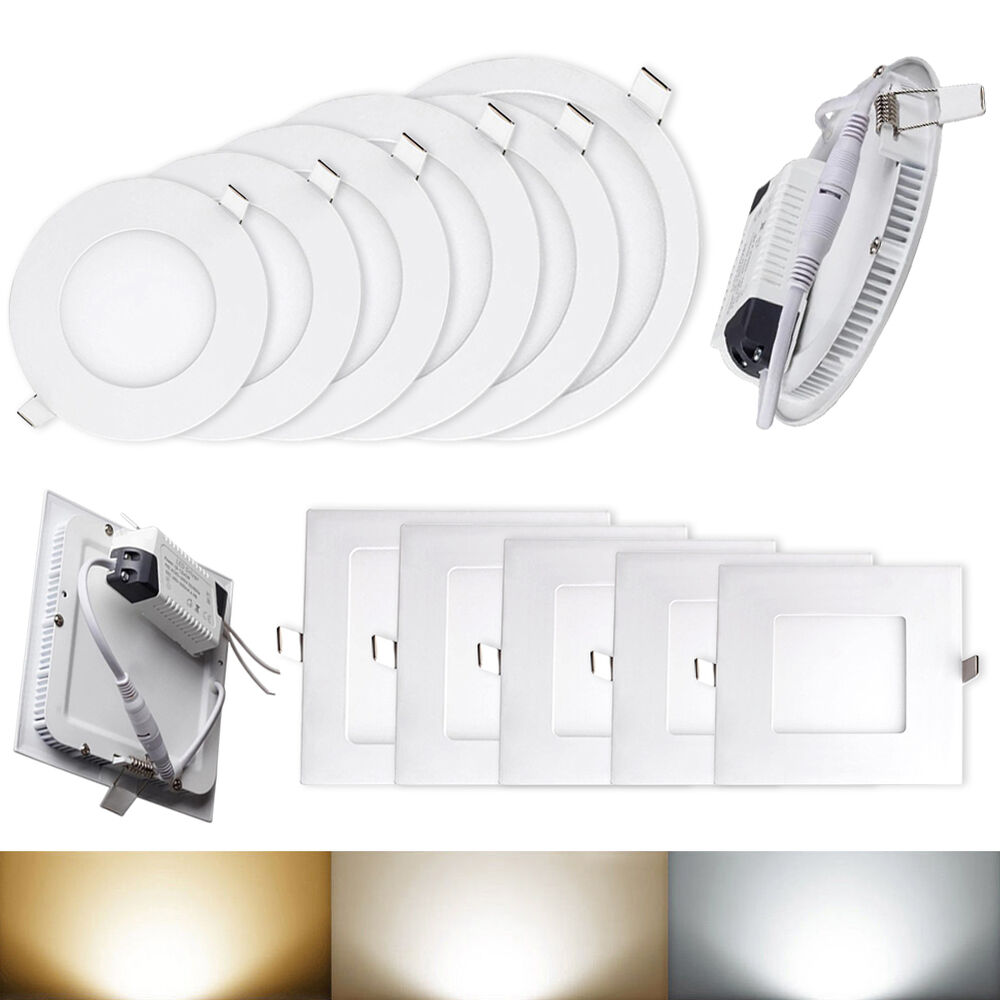 cree led recessed ceiling panel down lights bulb cool warm 6w 9w 12w. Black Bedroom Furniture Sets. Home Design Ideas