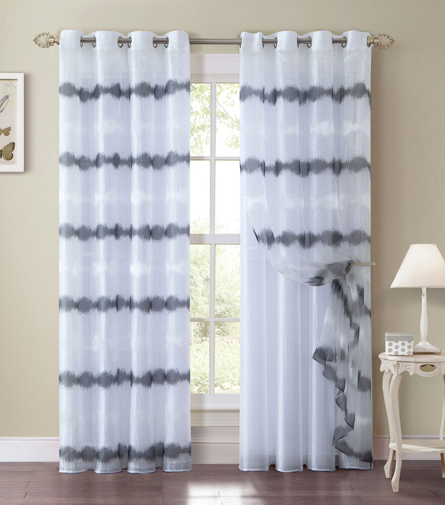 Black and white double layer window curtain panel silver grommets