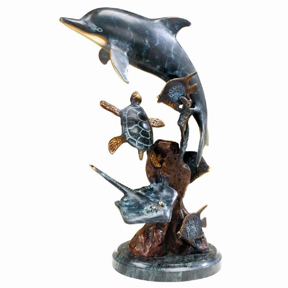 dolphin undersea friends sculpture brass marble nautical. Black Bedroom Furniture Sets. Home Design Ideas
