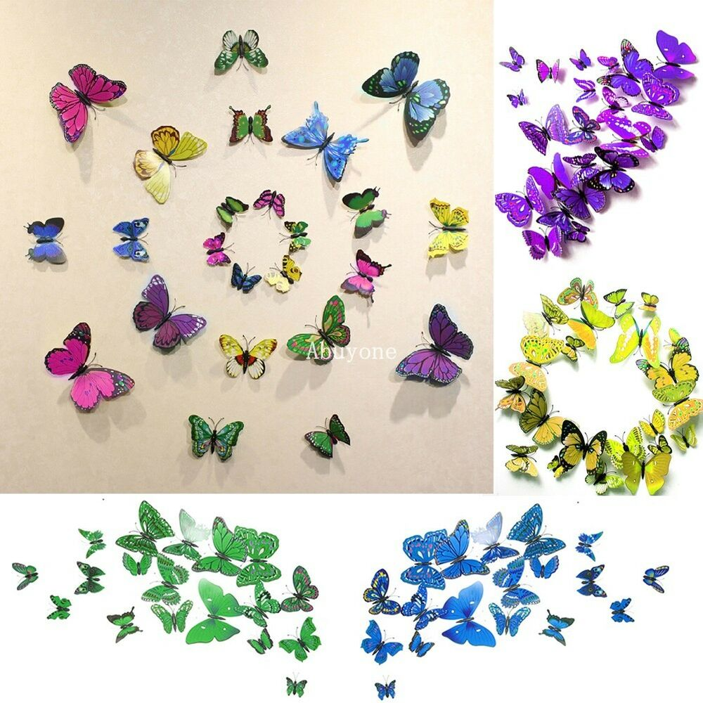 3d butterfly wall stickers sticker art diy decal home room decor decorations ebay. Black Bedroom Furniture Sets. Home Design Ideas