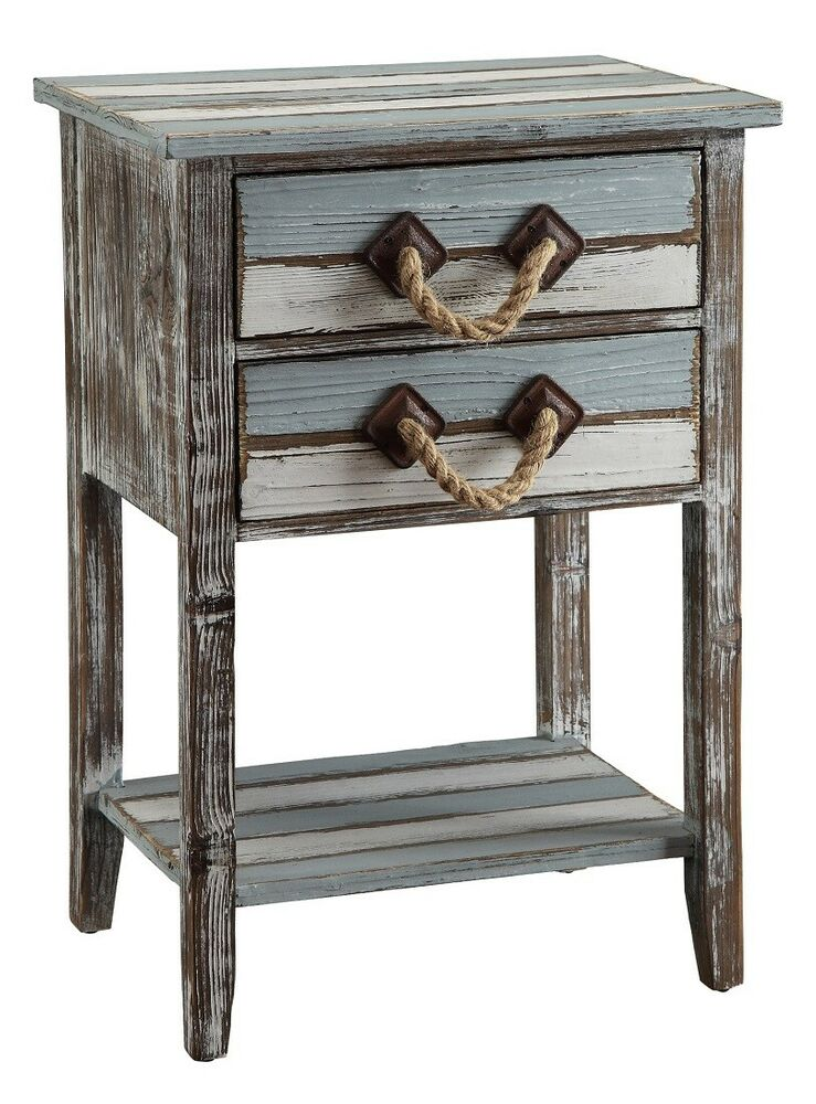 Nantucket distressed weathered wood accent side end table for Wood side table