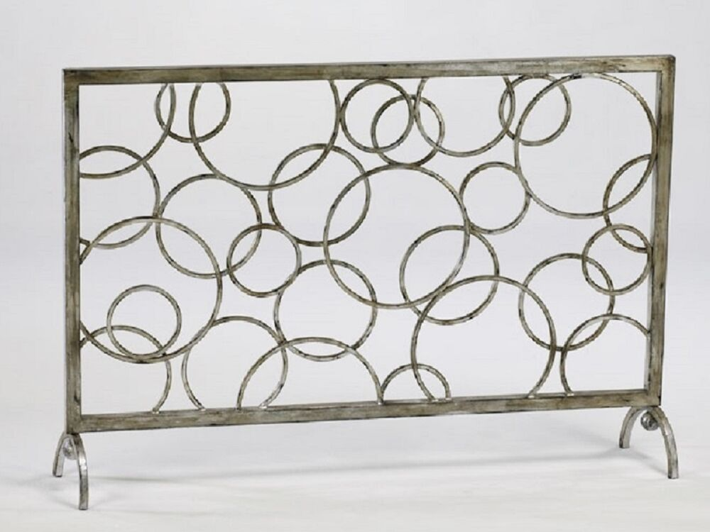 contemporary circles fireplace fire screen iron modern
