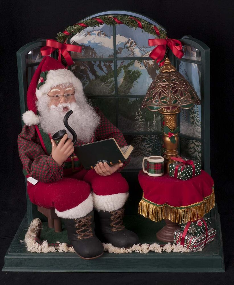 holiday creations christmas motionette santa sitting by bay window see video ebay. Black Bedroom Furniture Sets. Home Design Ideas