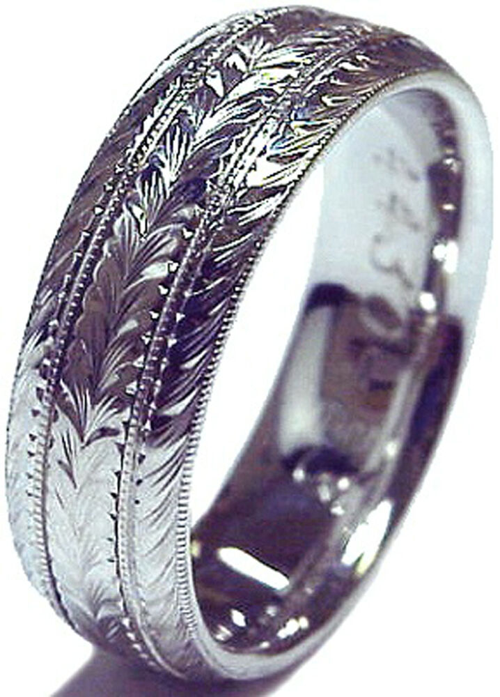 Brand New Men S Hand Engraved 14k Gold 6 Mm Wide Wedding