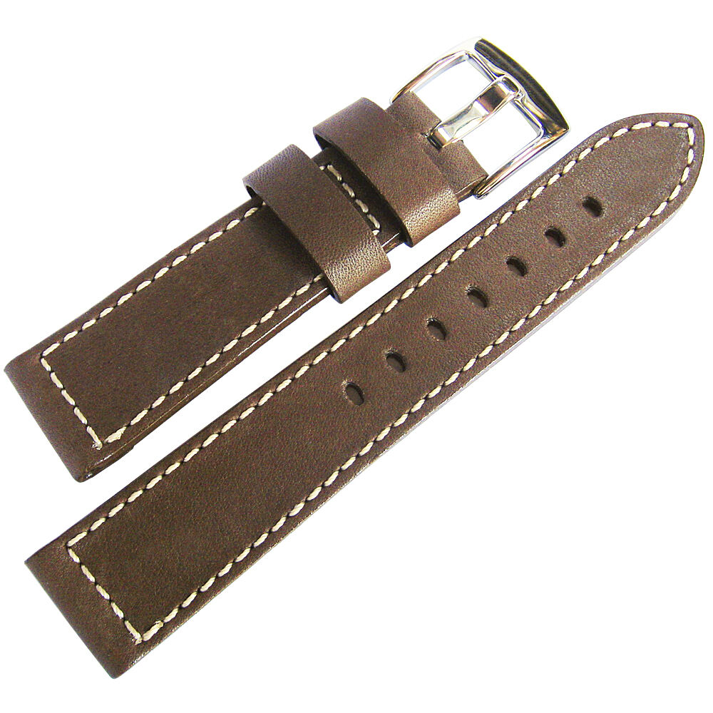 22mm fluco snow calf mens german made brown leather pilot watch band strap ebay for Violet leather strap watch