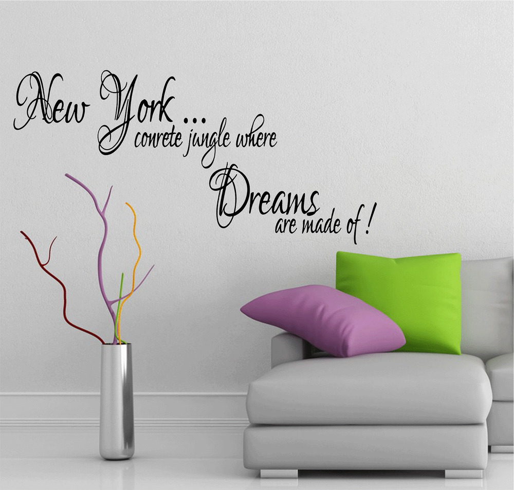 Wall Art Stickers Song Lyrics : New york song lyrics music quote dreams jay z vinyl