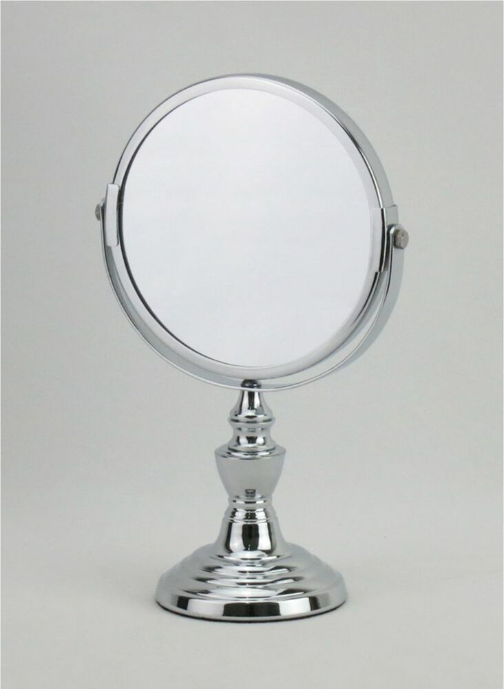 5 9 Inch Diameter Chrome Plated Makeup Vanity Stand Mirror