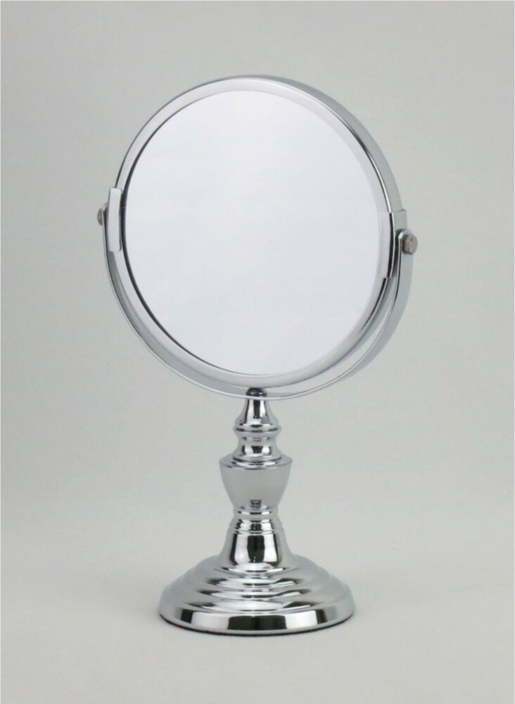 5 9 Inch Diameter Chrome Plated Makeup Vanity Stand Mirror 1x 2x Magnifica 4085298676690 Ebay