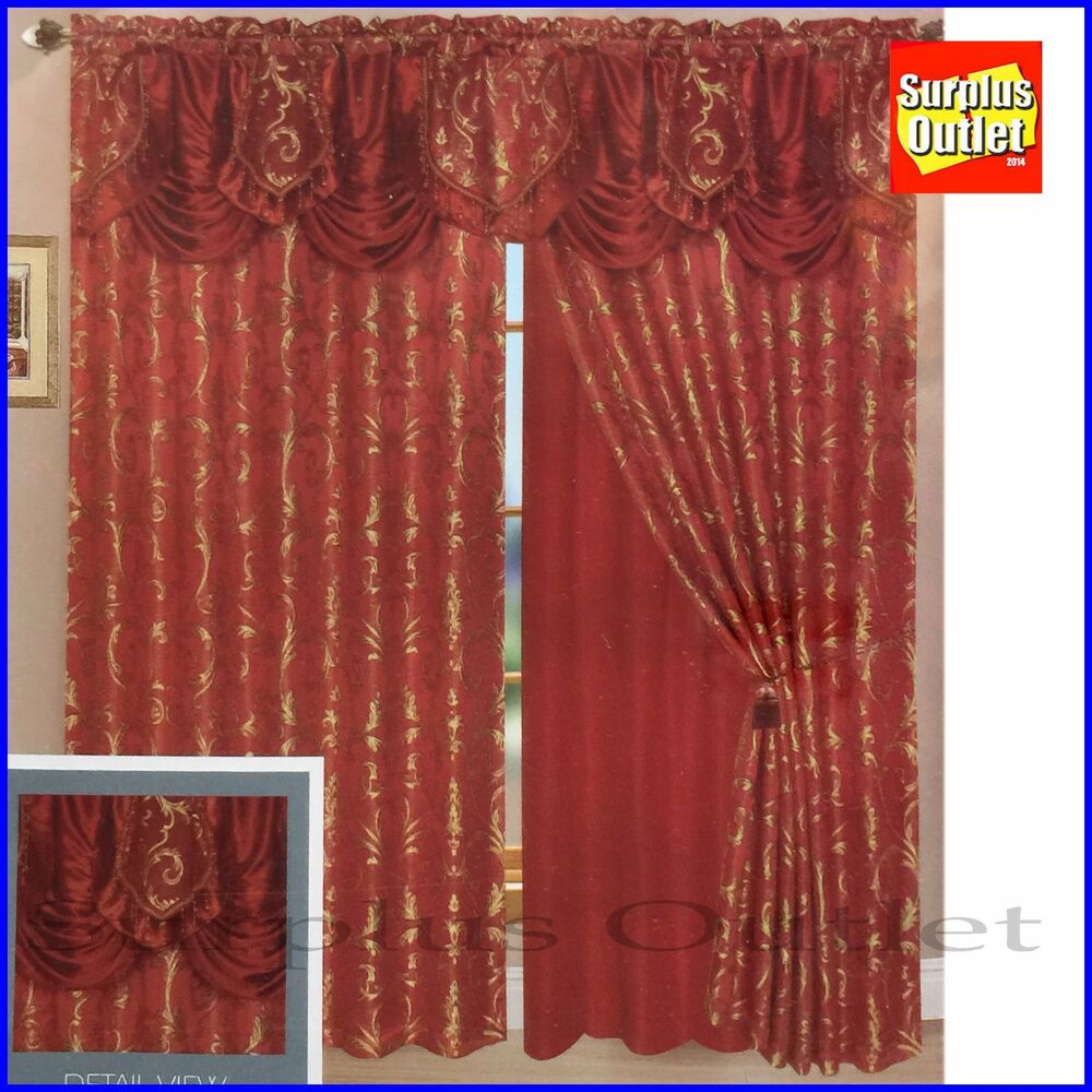 Window Curtain Set 2 Panels With Valance Ebay