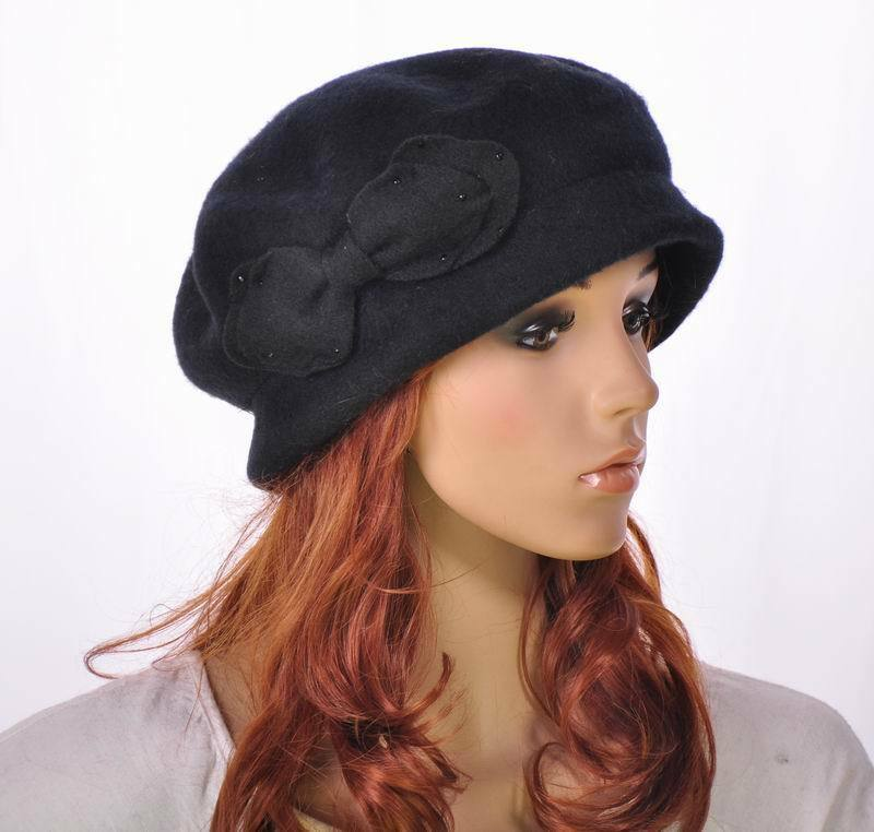 M142 Cool Black Warm Wool Acrylic Women's Winter Hat ...