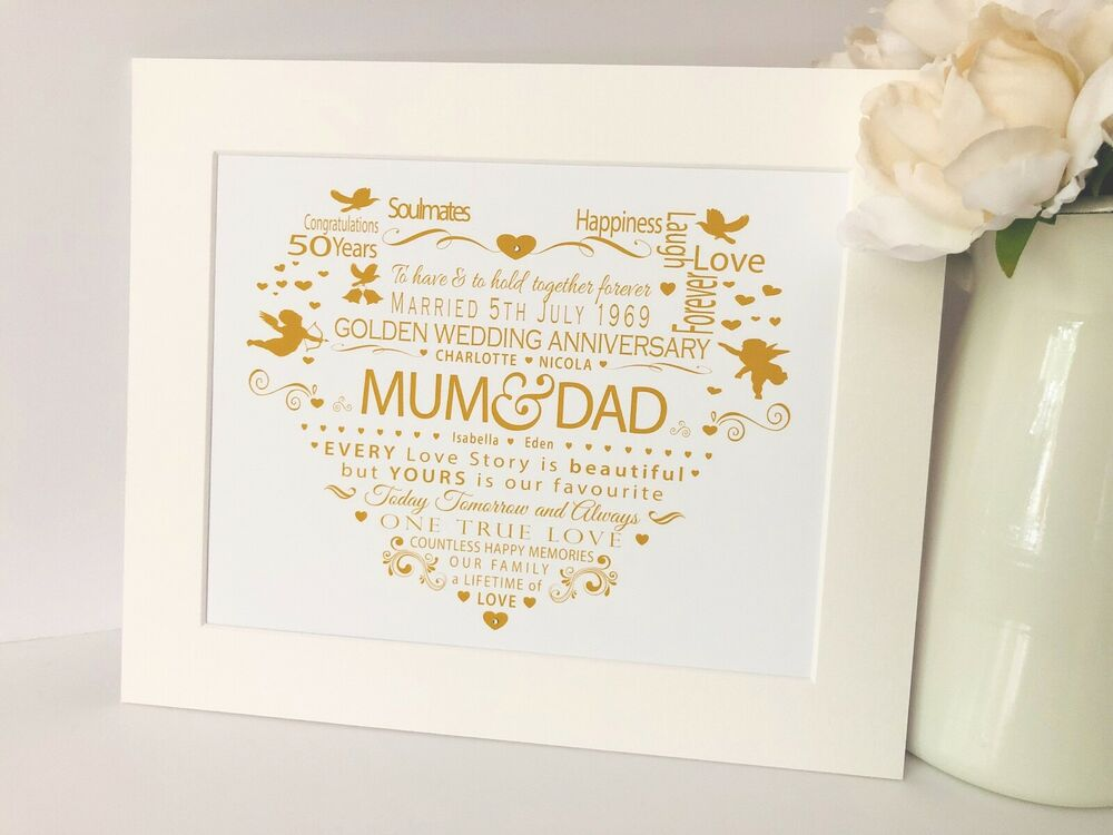 Personalised 50th Wedding Anniversary Gifts: Personalised 50th Golden Wedding Anniversary Print Heart