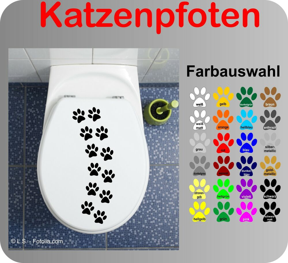 katzenpfoten wc deckel aufkleber wandtattoo toilettendeckel sticker bad klo ebay. Black Bedroom Furniture Sets. Home Design Ideas