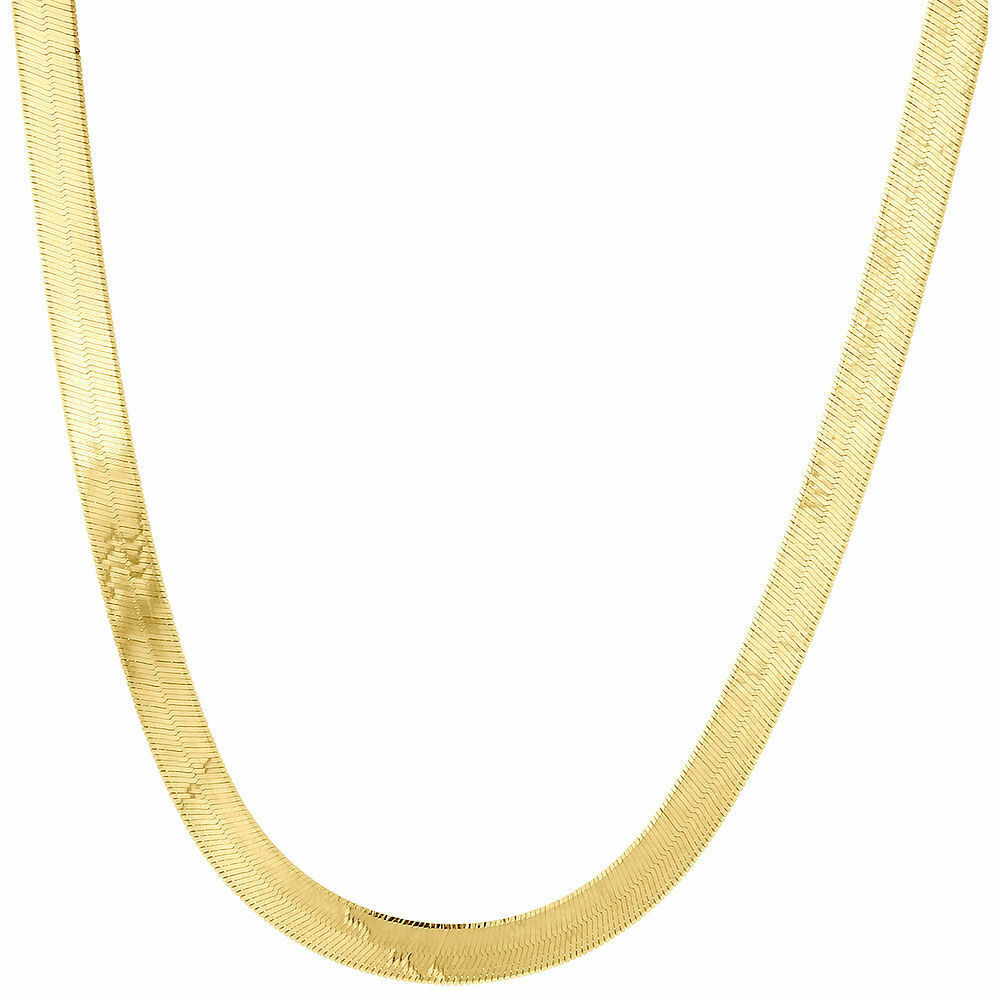 16 Inch Gold Herringbone Necklace: 10k Yellow Gold Solid Necklace Silky Herringbone 4.75mm