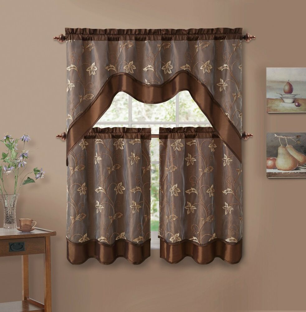 3 piece chocolate brown leaf embroidered kitchen window for Valance curtains for kitchen
