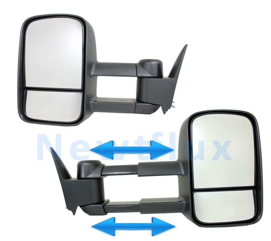 Vehicle Towing Mirrors : Pair manual tow mirrors l r side view telescoping extend