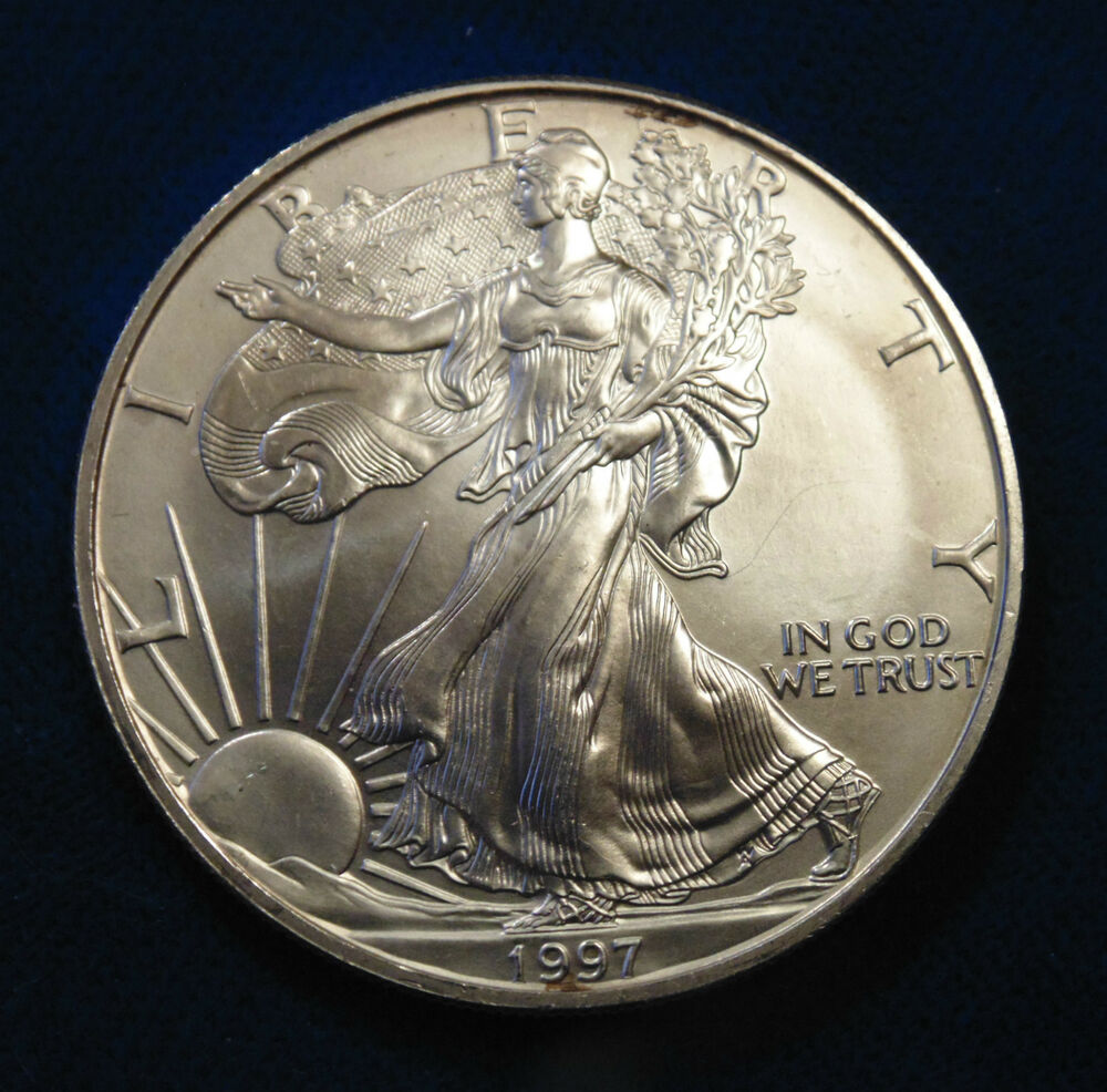 1997 Us Walking Liberty 1 One Ounce Fine Silver Coin Ebay