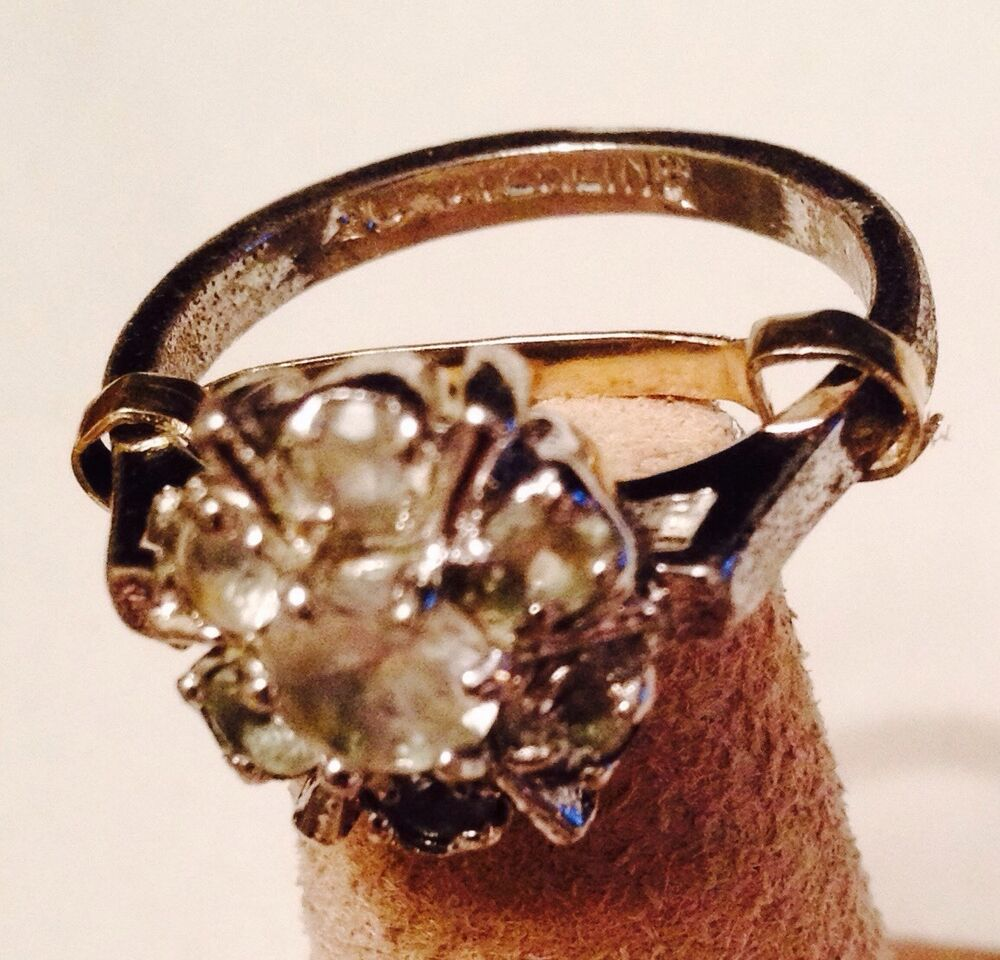 Vtg Uncas Sterling Silver Cz Cluster Ring W 14kt Yellow