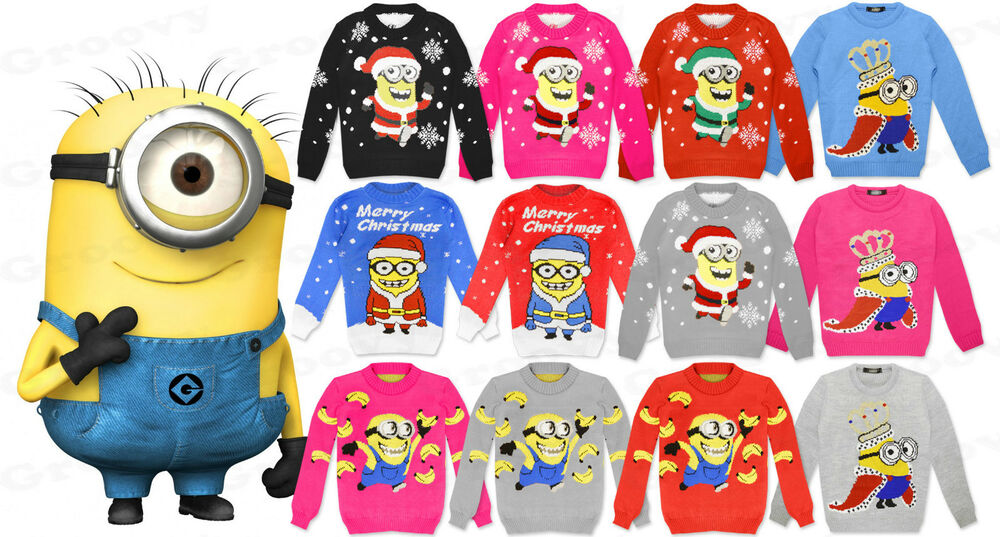 Knitting Pattern For Minion Jumper : Boys Girls Kids Minion Despicable Christmas Xmas Retro ...