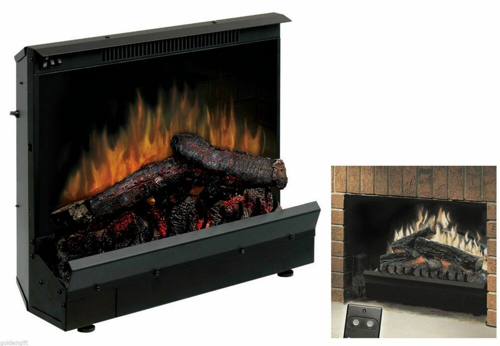Flueless electric log fireplace heater insert stove w for Fireplace electric log insert with heater