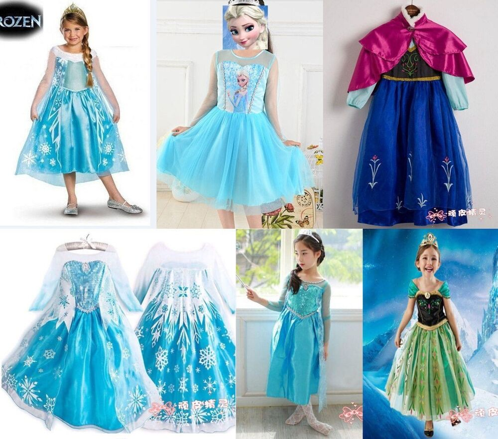 frozen elsa dress up gown costume ice princess queen dress size 3 8y ebay. Black Bedroom Furniture Sets. Home Design Ideas