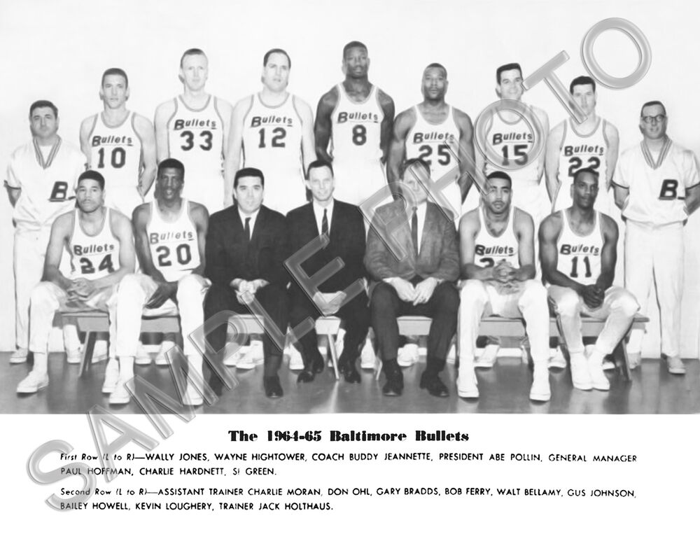 1964 65 BALTIMORE BULLETS 8X10 TEAM PHOTO BELLAMY GUS JOHNSON