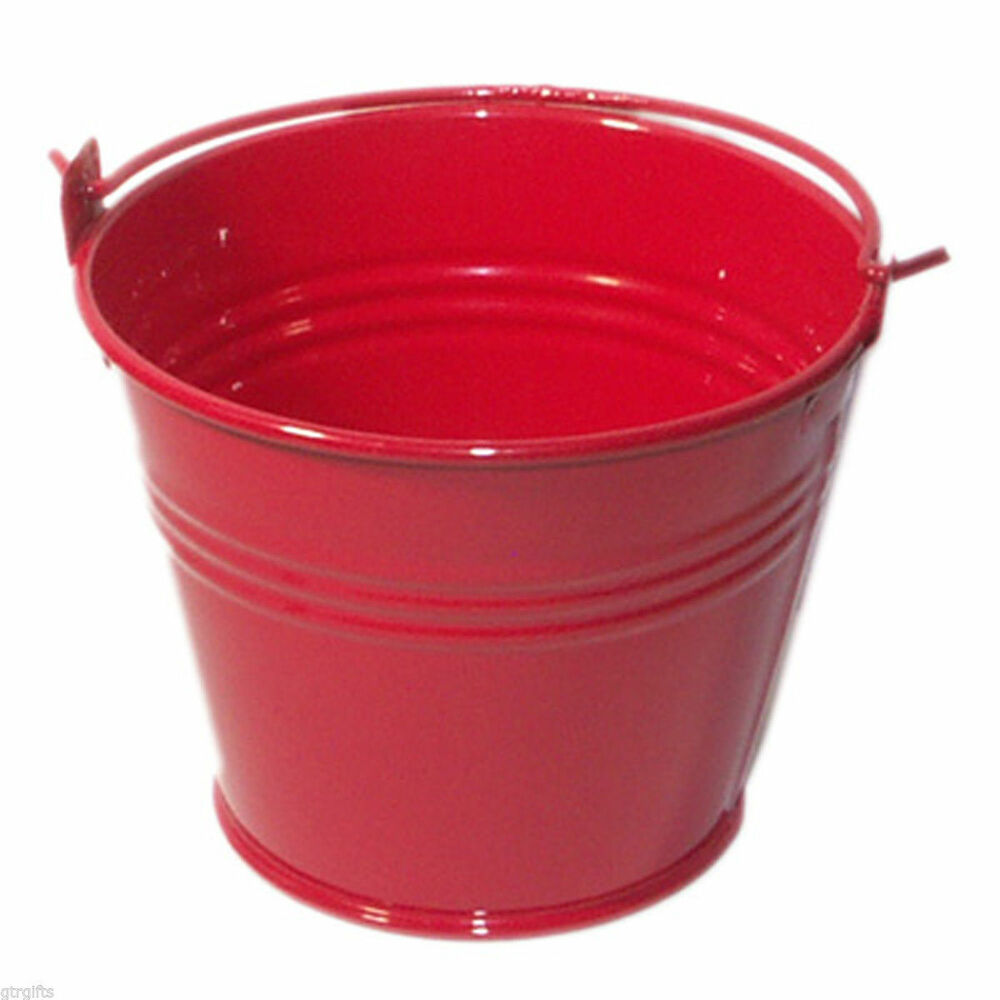 Pack of 10 metal red mini favour pails favour buckets for Small pail buckets