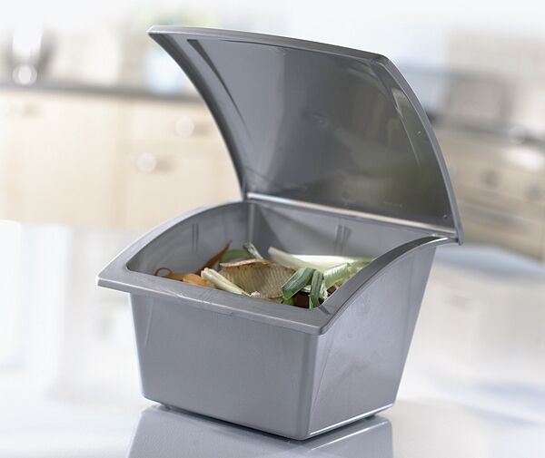 Worktop Bin, Counter Top Kitchen Waste Tabletop Kitchen Compost Caddy / Bin  GREY | EBay