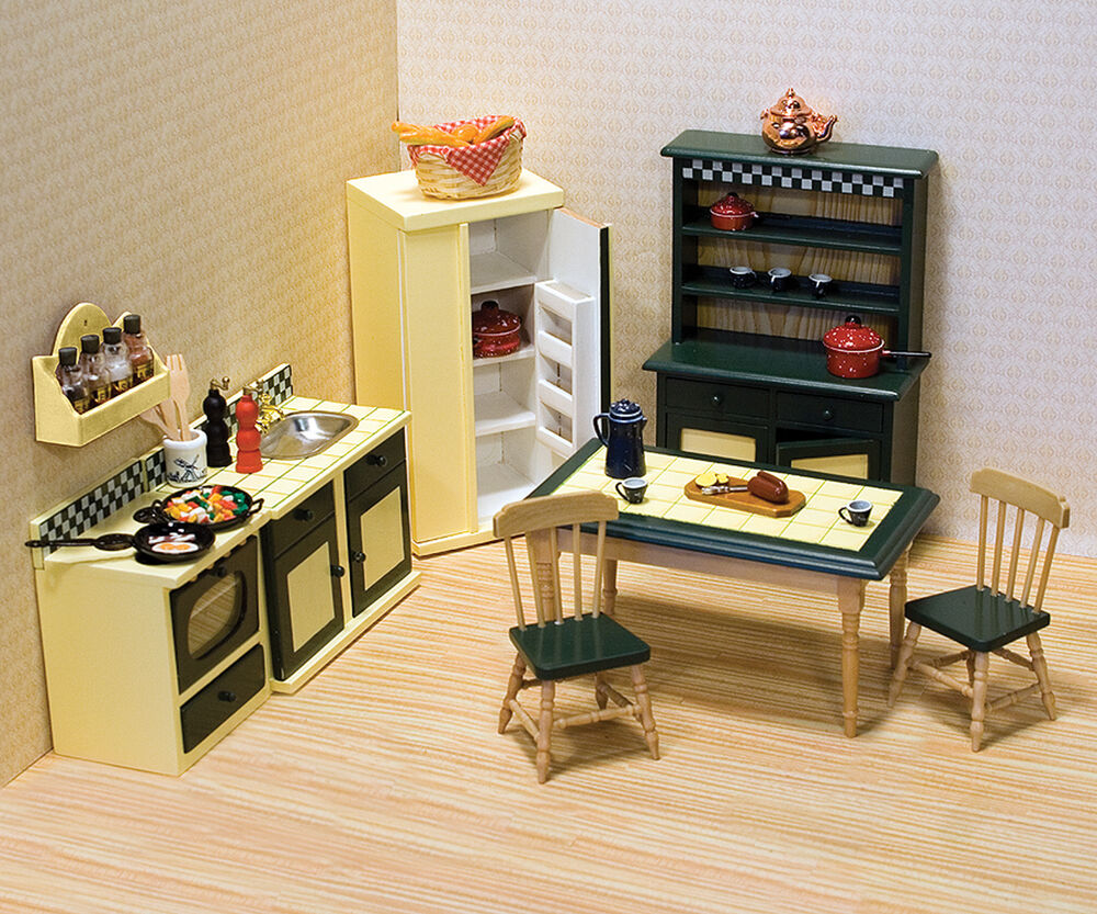 Kitchen Dollhouse Furniture Dollhouse Furniture 7 Pc Kitchen Set 2582 Scale112 Melissa