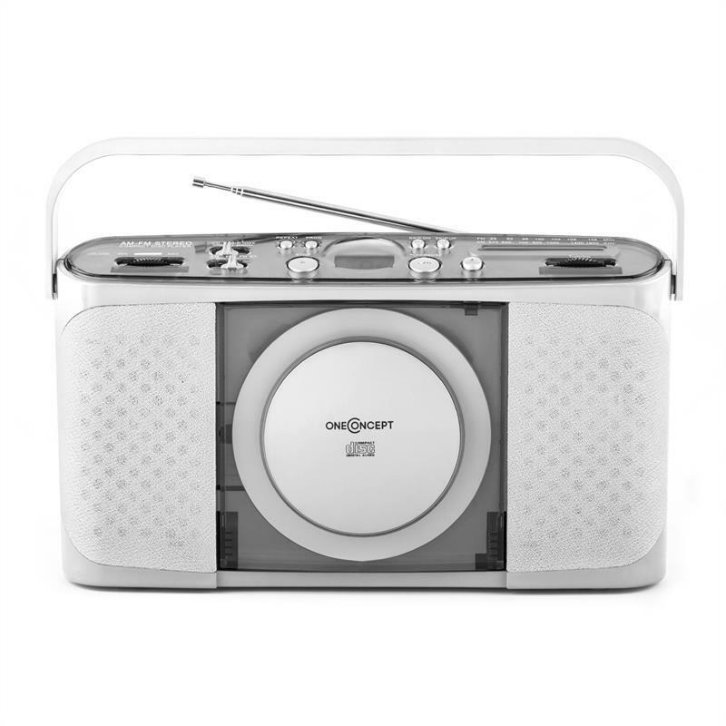 compact portable retro am fm radio tuner cd player usb mp3 stereo retro silver ebay. Black Bedroom Furniture Sets. Home Design Ideas