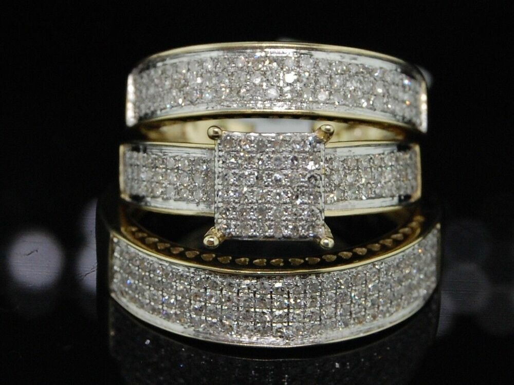 yellow gold wedding rings sets for his and her trio set 10k yellow gold his amp matching 1519