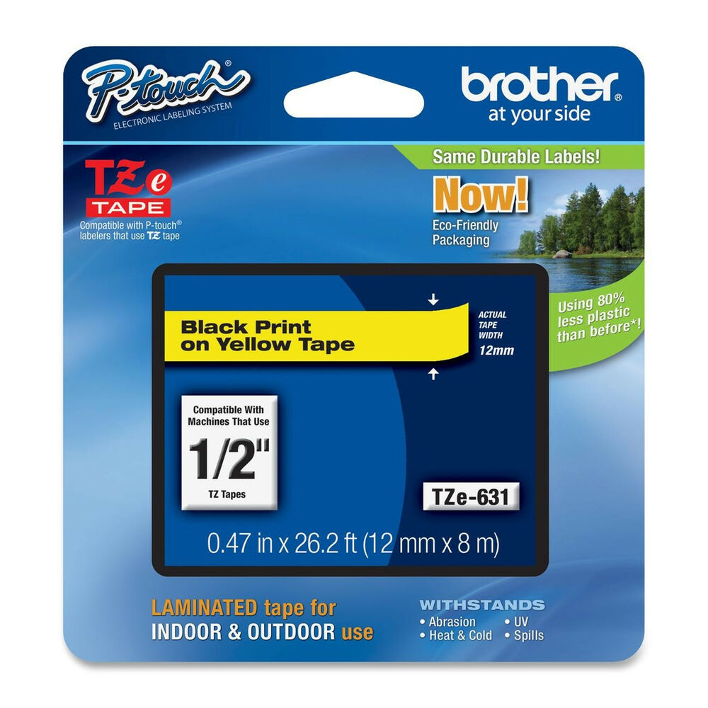 Brother TZe631 12mm Black On Yellow Ptouch Label Tape PT