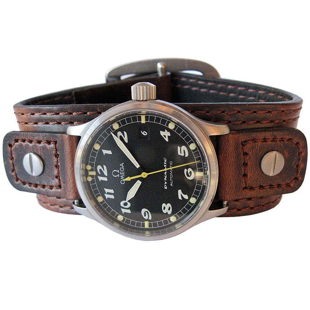 18mm 20mm hadley roma wide brown leather riveted military cuff watch band strap ebay for Leather strap watches