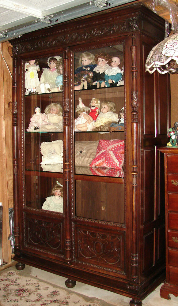Beautiful Large Antique Carved 2 Door Bookcase Display Cabinet 95 Quot Tall Ebay