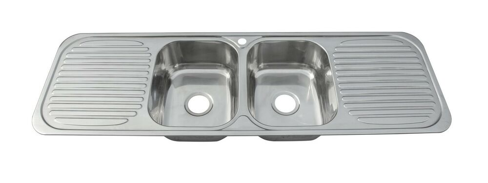 Large Two Bowls And Double Drainers Stainless Steel Inset