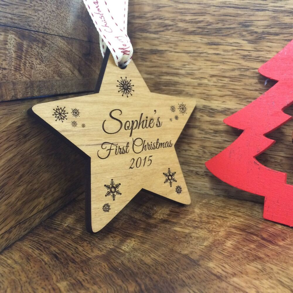 Solid wood personalised christmas tree decoration bauble for Baby s first christmas decoration