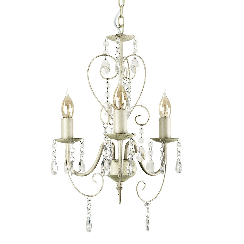 Shabby Chic Off White Cream 3 Way Ceiling Light Fitting