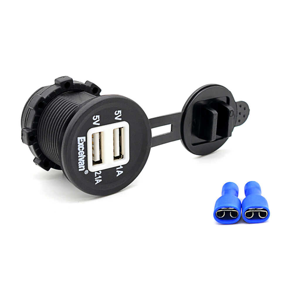 12v 24v led dual usb port marine motor car charger socket. Black Bedroom Furniture Sets. Home Design Ideas