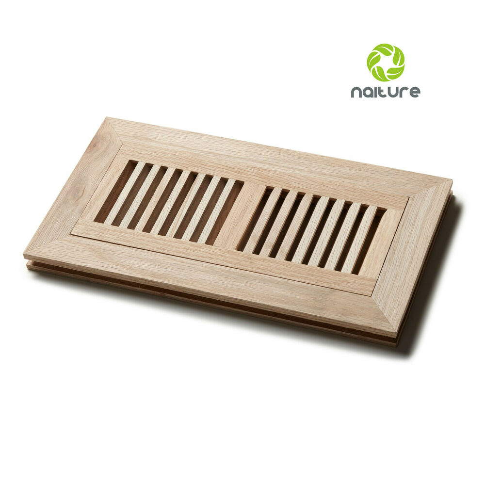 Unfinished wood flush mount floor register grille vent for 6x12 wood floor register