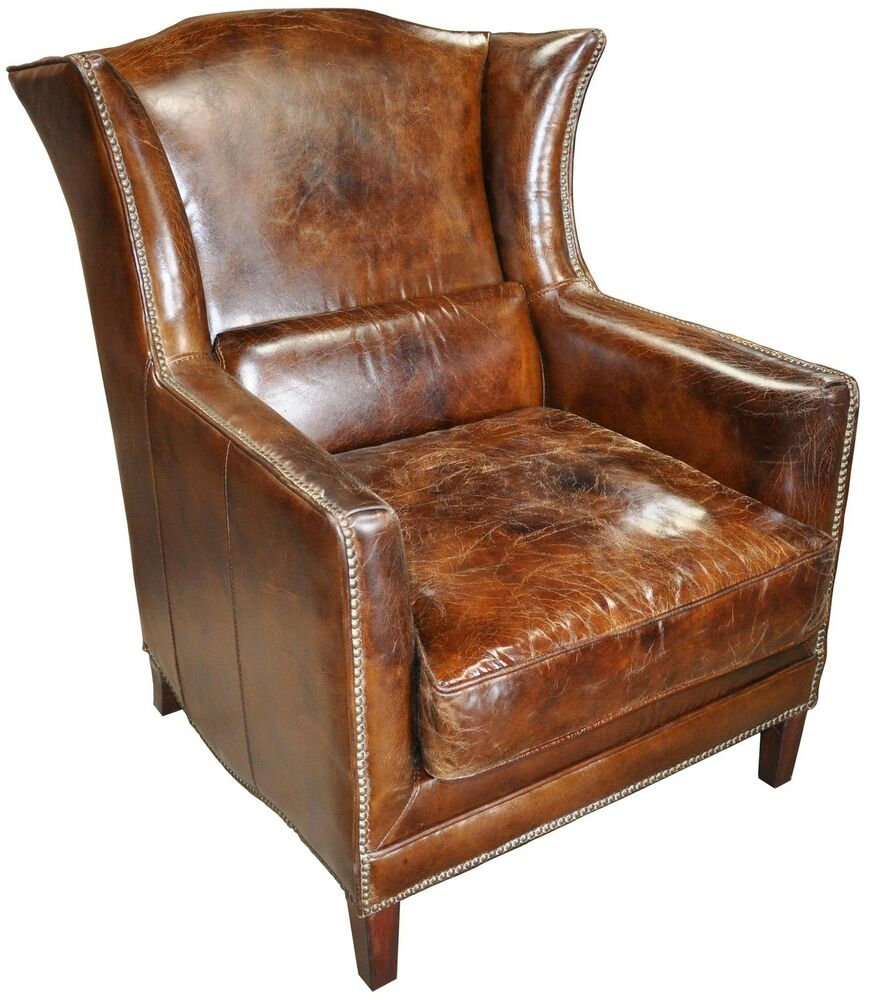 32 quot wide wing club arm chair vintage brown cigar italian leather