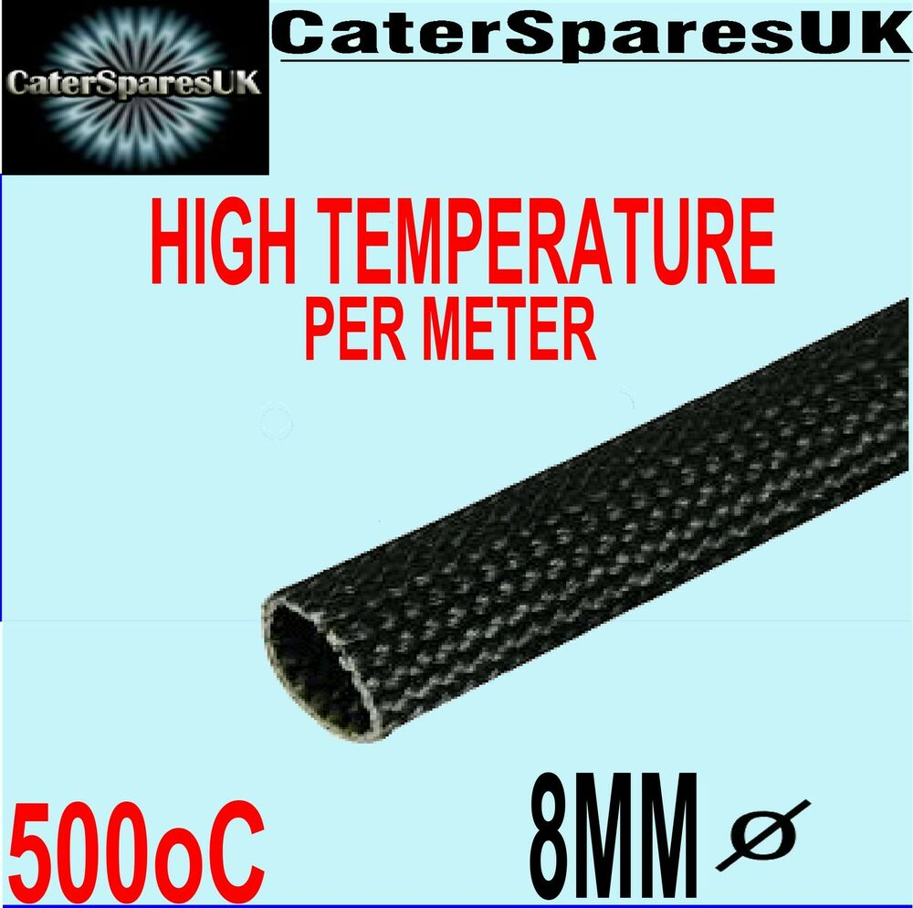 8mm Black Heat Resistant Sleeving Cable Wire High
