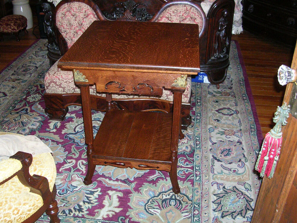 Antique Quartersawn Oak Parlor Table Pierced Carved Brass