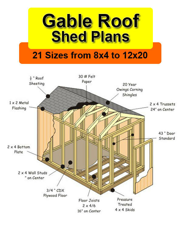 8x12 shed plans in 21 sizes from 8x4 to 12x20 ebay for Gable barn plans