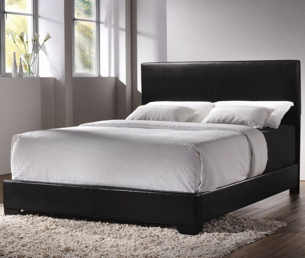 Modern queen size leather upholstered bed frame bedroom for L furniture warehouse queen