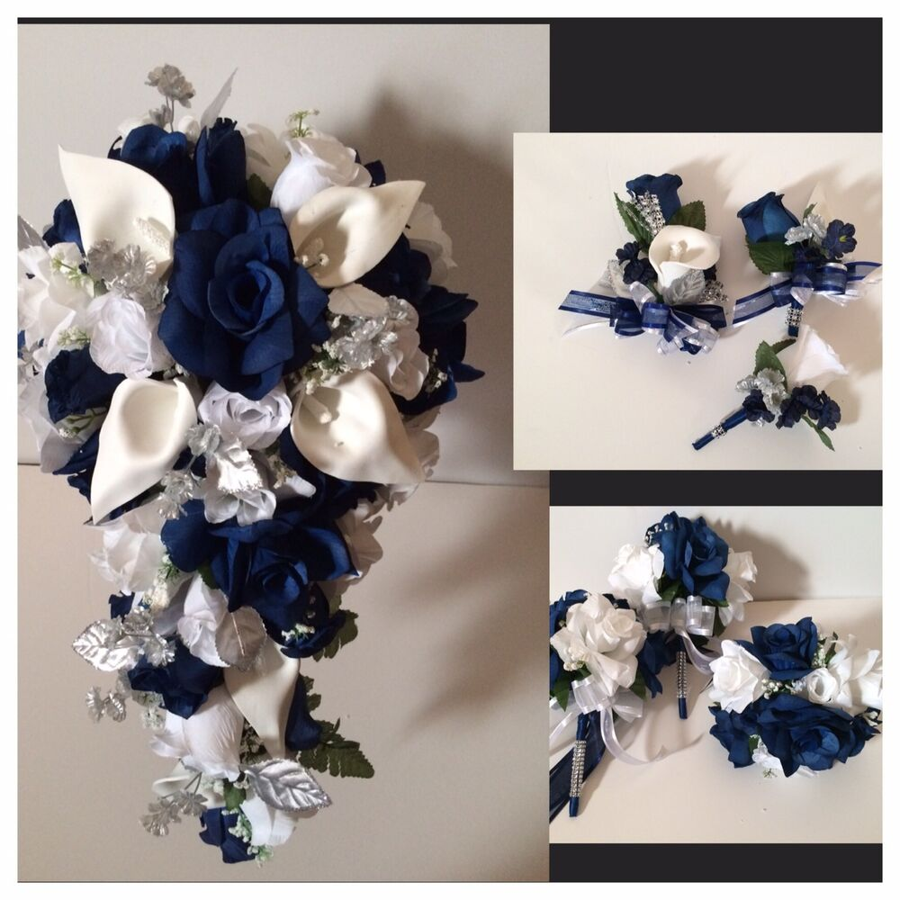 Real Vs Fake Flowers Wedding: 21 Piece Package Marine Navy Blue Calla Lily Bridal