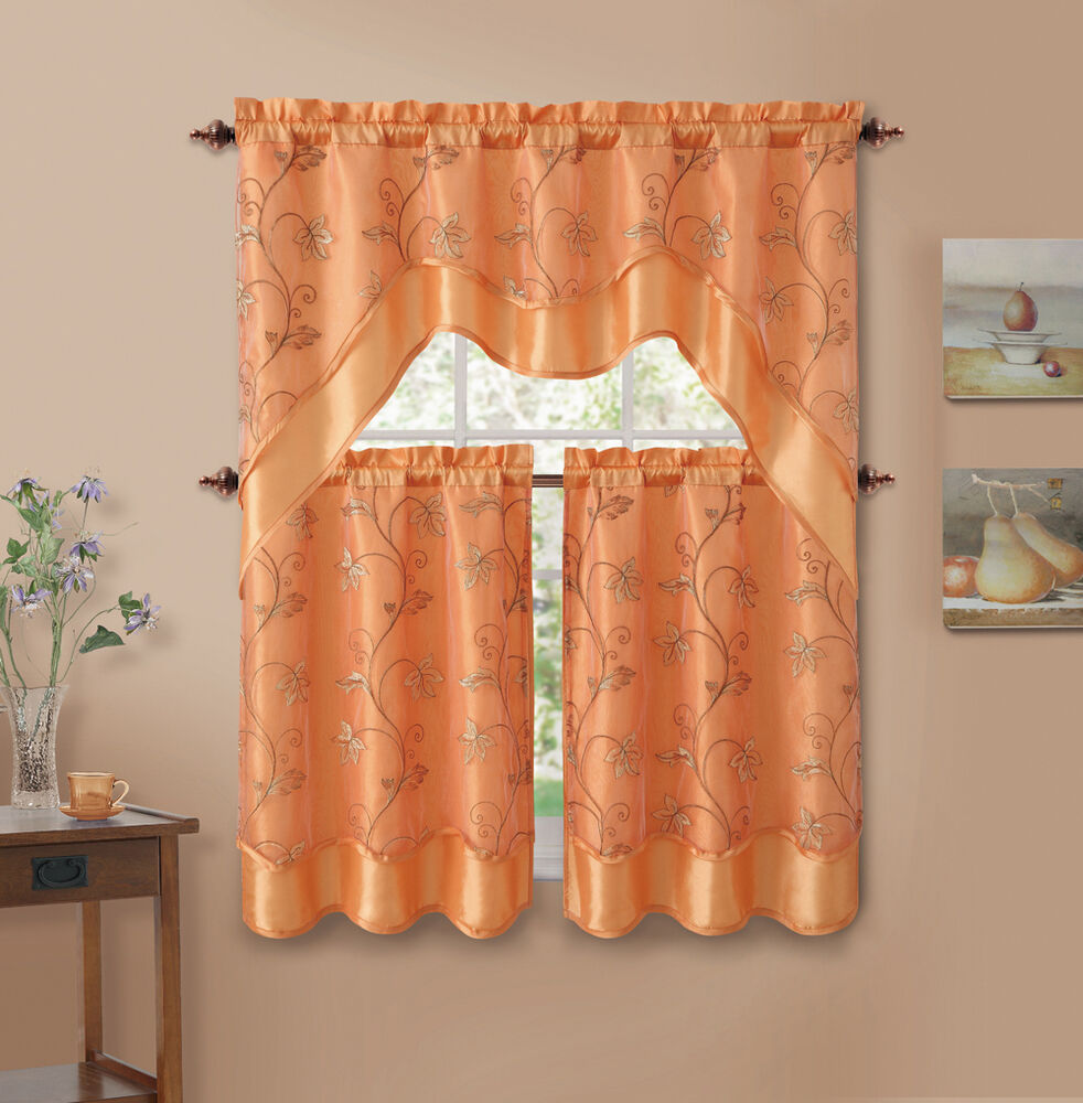 3 Piece Orange Leaf Embroidered Kitchen Window Curtain Set