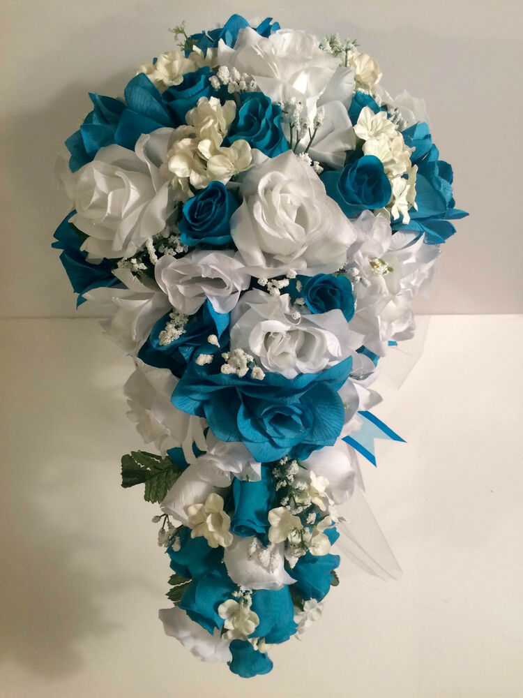 malibu turquoise white silk flower wedding bridal bouquet cascade 2pc ebay. Black Bedroom Furniture Sets. Home Design Ideas