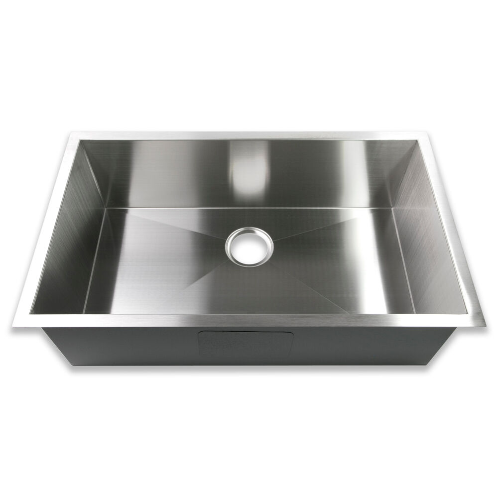 Stainless Steel Sink 16 Gauge : ... Single Bowl 16 Gauge Stainless Steel Kitchen Sink Zero Radius eBay